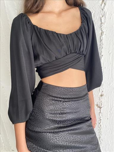 CROPPED BLOUSE BLACK